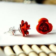 RED- Bridal Wedding Bridesmaid Mother of Bride ~ROSE Flower Floral Post Earrings