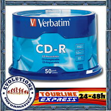 50 CDs VERBATIM Cd-R 700Mb EXTRA PROTECCION 52X TARRINA CD NO 100 200 BOBINA