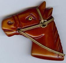 Vintage Intagliato Arancione Bruciato Bachelite Bellissimo Testa di Cavallo