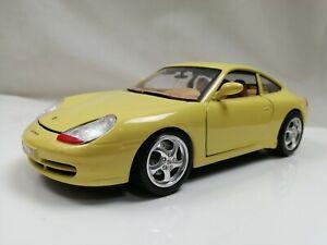 Burago 1/18 1997 PORSCHE 911 Carrera Yellow German sports car replica model