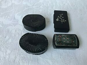Collection Antique Georgian Papier Mache Snuff Boxes Silver Inlaid
