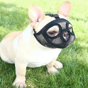 Short Snout Dog Muzzles- Adjustable Breathable Mesh Bulldog Muzzle for Bulldog