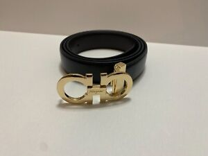 New Ferragamo Belt Black Leather with Gold
