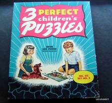 1940s 3 Perfect Childrens Jigsaw Puzzles in Box # 311 200 Pieces Set #2 Dogs