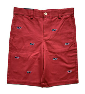 VINEYARD VINES Boys Whale Embroidered Club Shorts Firecracker Red NWT SIZE 12