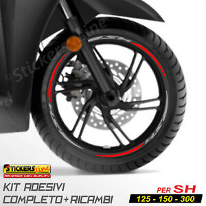 Adesivi Cerchi Honda SH 125 150 300 strisce adesive ruote GRIGIO ROSSO Racing 3