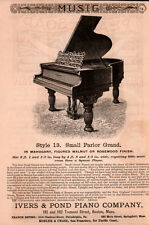 LATE 1800 'S AD IVERS POND PIANO CO SMALL PARLOR GRAND