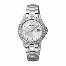Hot! NEW Seiko Three-Hand Date Stainless Steel Tone Women's Watch SUR853 Silver