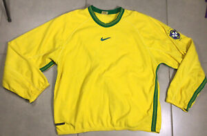 VTG 1998 Men's Nike THERMA FIT Brazil Sz M Soccer Pullover Jacket warm up Yellow
