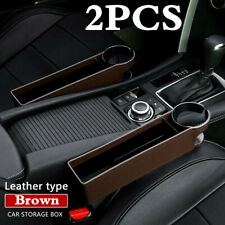 Brown PU Leather 2Pcs Car Seat Gap Slit Pocket Storage Box Organizer+Cup Holder