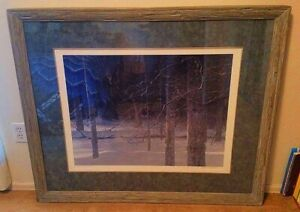 "Signed Robert Bateman ""Midnight Black Wolf"" Painting Print Picture Wooden Frame"