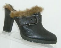 B.O.C. Born Concept brown leather BC6387 faux fur lined slip on clogs 8 39
