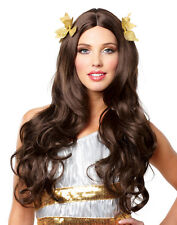 Sexy Brown Roman Greek Goddess With Wreath Womens Halloween Costume Wig