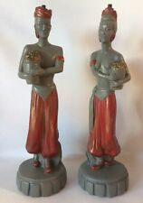 Vintage Nubian Genie Chalkware Lamp Bases Figurines 1940's Signed Charles Co