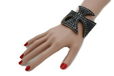 Cute Women Bulky Wide Cuff Bracelet Wrist Pewter Black Metal Bling Jewelry Cross