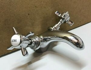 Chrome Mono Basin Sink Bathroom Mixer Tap 1TH Cross Head Handles Hot Cold
