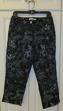 EVAN-PICONE STRETCH Black/White Floral Cotton Blend Capri Pant Size 10