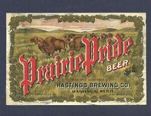 Prairie Pride Beer label, pre pro, Hastings, Nebraska, pre- IRTP, 1900