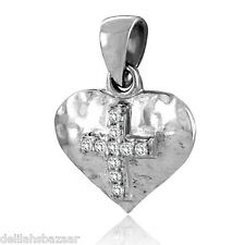 Cz Stones 925 Silver Sa1239 S Cross Pendant Necklace Heart Set With