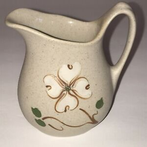 """Small Creamer Pitcher Dogwood Pigeon Forge Pottery TN 4"""" Handpainted Glazed"""