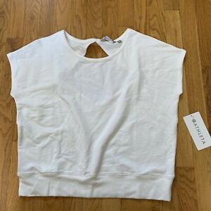 NWT Athleta Be Open Tee Solid White French Terry Open Back Athletic Top L