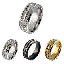 Sz6-13 Unisex CZ Stainless Steel Ring Men/Women's Wedding Band Black/Silver/Gold