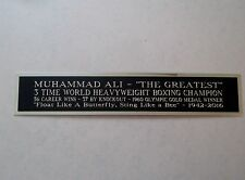 Muhammad Ali Engraved Nameplate For A Signed Boxing Glove, Trunks, Photo 1.5X8