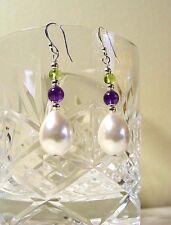 Suffragette Earrings Czech Pearl Amethyst Peridot Gemstones Sterling Silver hook