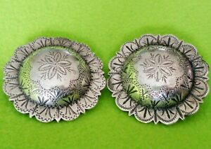 "KEYSTON Bros~PAIR (2) Antique 1-3/4"" Solid STERLING Silver Bridle ROSETTES~NR"