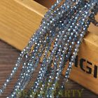 New 100pcs 4X3mm Crystal Glass Rondelle Faceted Loose Beads Eye Blue