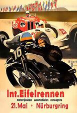 International Eifelrennen 1939 Nurburgring BMW Audi Mercedes Bike  Poster Print