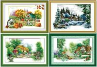 "New Finished Cross Stitch""Four Seasons""Finished Cross Stitch Home Decor Gifts"