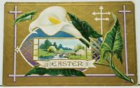 Easter Greeting Beautiful Lily & Scenic View on Gold Finish Embossed Postcard I4