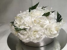 Artificial Flower Table Centrepiece Decoration Paper Flowers White With Pearls