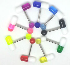 9X14G Mixed Pill Shape Metal Ball Barbell Tongue Rings Bar Body Jewelry Piercing