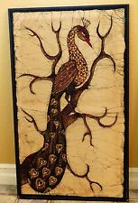 Vintage Peacock Posing in Tree South Asian Painting on Fabric Quite Enchanting