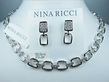 "Earrings & Swarovski Crystals 16-18"" 1890 Nina Ricci Rhodium Plated Necklace &"