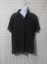 Men's Ixspa Black Striped Polo Shirt, Size M