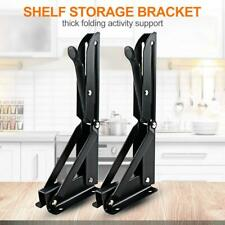2pcs Stainless Steel Folding Bracket Shelf Holder Triangular Wall Storage Rack