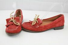 Lucky Brand Women's Red Leather Suede Slip On Moccasin Loafers READ FOR SIZE
