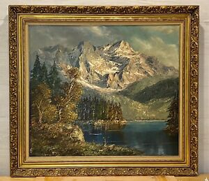 Original HERBERT UERPMANN (1911-1996) Alps Oil Painting on Canvas FRAMED