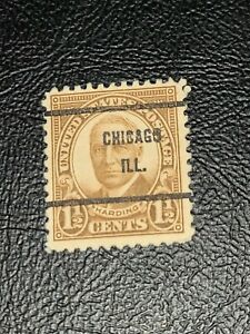 Scott# 684 US Stamp 1930 1-1/2c Harding Used Precancel CHICAGO ILL. - #3776
