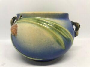 Roseville Art Pottery-Blue Pine Cone-Mini Jardiniere Round Handled Bowl-632-3