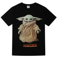 Mens Disney Star Wars The Mandalorian The Child Baby Yoda  Portrait T-shirt Tee