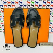 37.5 NEW HERMES ORAN H SANDALS SLIPPERS CLASSIC BLACK BOX WHITE STITCHING $650
