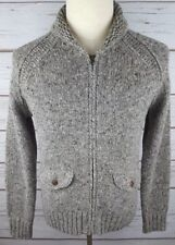 e70c0ce3cc4c J Crew Wallace   Barnes Donegal Gray Fullzip Shawl Collar Cardigan Sweater  Small