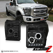 2011-2016 Ford F250 F350 F450 SuperDuty Smoke Halo LED Projector Headlights PAIR