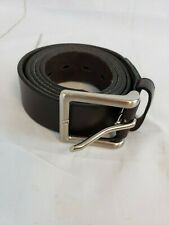 Mens Genuine Leather Belts For Dress & Jeans Big & Tall Brown Silver Buckle A12