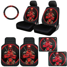 FOR BMW NEW DEADPOOL CAR SEAT COVERS FLOOR MATS STEERING WHEEL COVER SET