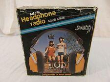 Vintage Jasco Am-Fm Solid State Model 211 Adjustable Yellow Headphone Radio